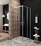 Duschabtrennung eckeinstieg Schiebetür dusche Glastrennwand Glas Duschtür Duschkabine 80x80cm, Höhe 185cm,klar