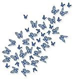 Luxbon 100 Stück 3D Schmetterling Wandtattoo Abziehbilder mit Klebepunkten Kinder Baby Schlafzimmer Deko Blau