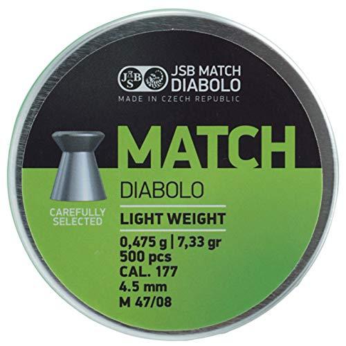 JSB Match Light Diabolo Kaliber 4,5 mm / .177 Luftgewehr Luftpistole Munition - 500 Stück