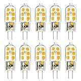 TINS G4 LED Leuchtmittel,G4 LED Lampe, G4 3W LED Birne, AC/DC 12V, 12x2835 SMD, 150LM, 6500K Kühles Weiß, Kein Flimmern Energiesparende Lampe, 20W Halogenlampe Ersetzen Kann, CRI  75, 10er Pack