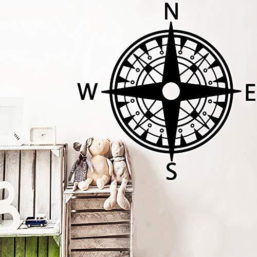 Moderne Kompass Wandkunst Aufkleber Aufkleber PVC Material Wandtattoos Für Wohnzimmer Kinderzimmer Dekoration Weiß M 30 cm X 30 cm