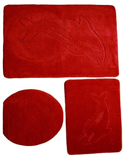 3 teiliges Badgarnitur Set Delfin Muster ohne Ausschnitt - Badteppich 85x55 Badematte verschiedene Farben (Rot)