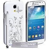 Samsung Galaxy S4 Mini Tasche Weiß / Silber Harte Blumen Schmetterling Hülle Mit Griffel Stift