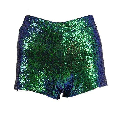 Tiny Time Damen Sequin Shine Glitter Shorts Paillette verschönert Party Kurze Hose (M, D) (Booty Shorts Halloween Kostüm)