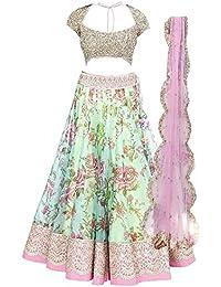 Simandra Fashion Girl's Satin Silk & Net Semi-Stiched Lehenga Choli (Kids_7-12 Year_Free Size)