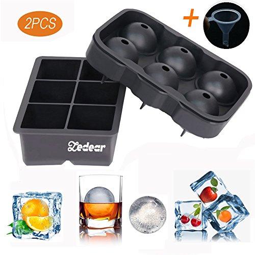 zedear Eiswürfelformen Silikon Combo (Set von 2), schwarz 6GIANT Ice Ball Cube Maker mit für chiling Bourbon Whiskey Cocktail, Cocktail, Getränke, Arten mit Candy Pudding Jelly Milch Saft Schokolade Schwarz