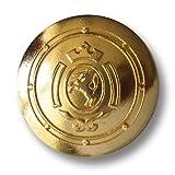 Knopfparadies - 6er Set leicht gewölbte dezent glänzend goldfarbene Ösen Metallknöpfe mit Wappen, Einhorn und Krone / Goldfarben, leicht glänzend / Metall Knöpfe / Ø ca. 16mm