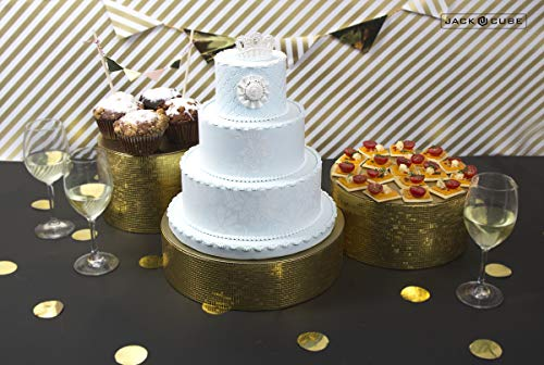 Display-ständer Set (Jack Cube Kuchen Ständer Set 3, Cupcake Display Supplies Tablett Teller für dekorative party- mk197abcg, gold, 8inch, 10inch, 12inch/Gold)