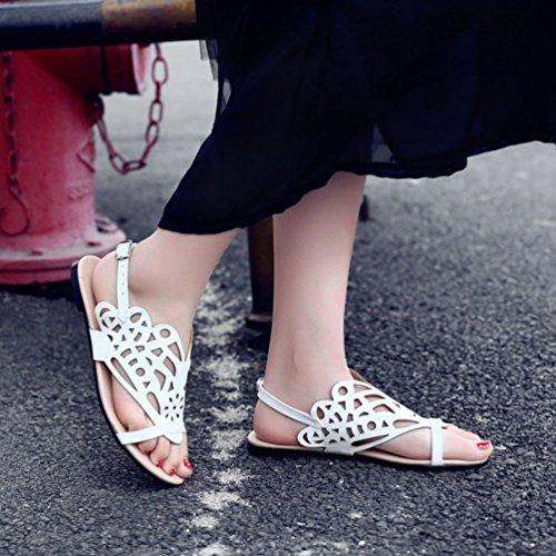 YOUJIA Femmes Confort Sandales Spartiates Gladiateur Lanière Cheville Plat Chaussures dété Blanc