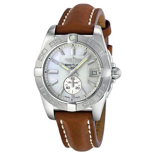 Breitling Galactic 36automático madre de perla damas reloj a3733011-a716brlt