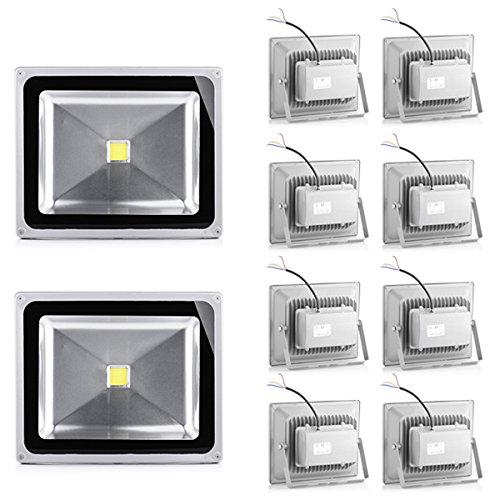 10*50W IP65 LED Projecteur Lumière IP65 5800-6200K Blanc froid