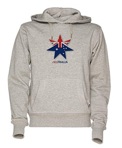 Ahorn Blatt Australisch Flagge Unisex Grau Sweatshirt Kapuzenpullover Herren Damen Größe S