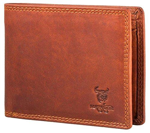 Matador Damen Herren Geldbörse / Echt-Leder Portemonnaie / Brieftasche RFID Schutz Vintage Braun