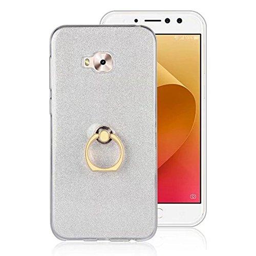 EKINHUI Case Cover Soft Flexible TPU Back Cover Case Shockproof Schutzhülle mit Bling Glitter Sparkles und Kickstand für Asus ZenFone 4 Selfie Pro ZD552 ( Color : Gold ) White