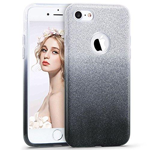 iPhone 5/5S/SE Hülle, Imikoko™ Glitzer Schutzhülle [Weiche TPU Abdeckung + Glitzer Papier + PP innere Schicht] [Drei in Einem] Hülle für iPhone 5/5S/SE(Farbverlauf rosa) Farbverlauf Grau
