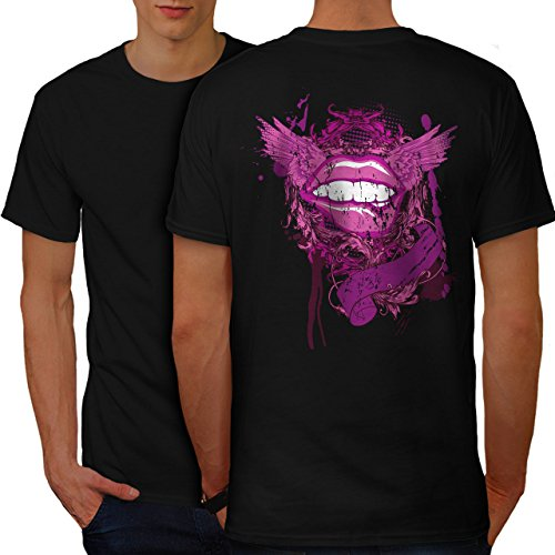 wellcoda Lippen Mund Flügel Mode Männer M Ringer T-Shirt (Flügel Ringer T-shirt)