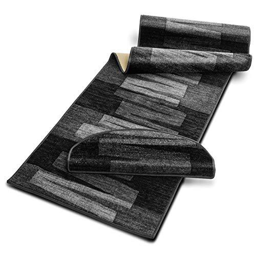Läufer mit Pinselstrich Muster | Schwarz | Qualitätsprodukt aus Deutschland | kombinierbar mit Stufenmatten | 3 Breiten und 18 Längen (80 x 550 cm)