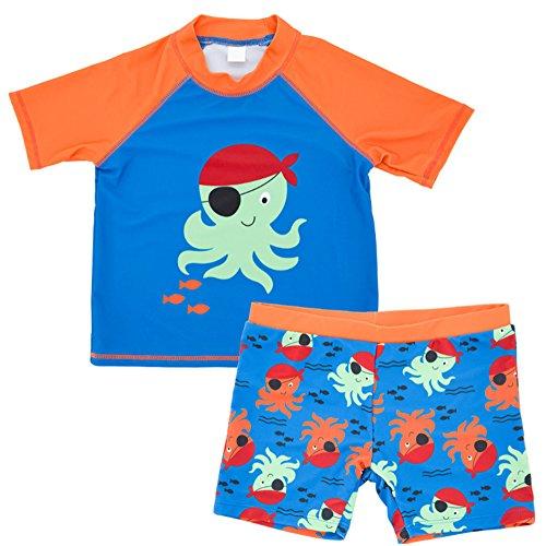 Traje de Baño de Protección Solar para Niños Boy Surf Traje de Baño de 2 Piezas de Manga Corta +...