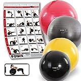 POWRX - Palla Fitness 75 cm per Ginnastica, Yoga & Pilates - PDF workout & Pompa per il gonfiaggio - Antiscoppio (Grigio Antracite)