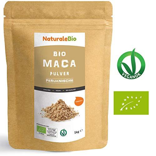 Maca Pulver Bio [ Gelatiniert ] 1kg | Natürlich und Rein, hergestellt in Peru, extrakt aus Bio Maca Wurzel | Superfood reich an Aminosäuren, Ballaststoffen, Vitaminen und Mineralien | NATURALEBIO Gold Pur Tee