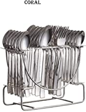 NAOE™ Losange Coral,Cutlery Set for Kitchen(in Silver Colour) Great Gifting Option/Pack of-24 Piece/stainlress Steel