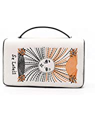 Mujer messenger bag Mini Hombro Hombro Bolso Bolsos de la cadena del bordado Sol blanco