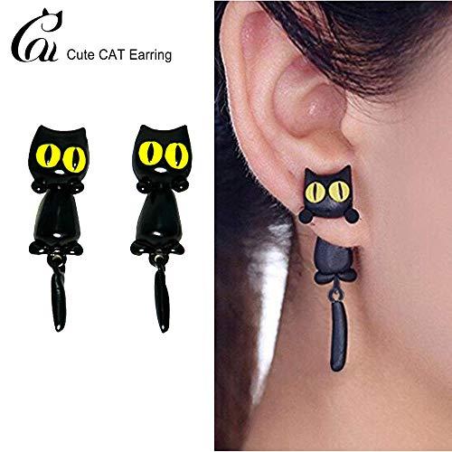 Katze Frauen Stud Ohrringe Schmuck, Handgemachtes Schwarzes Kätzchen Ohrring für frauen mädchen mit Geschenkbox Halloween ()