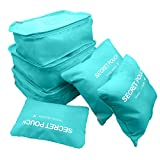 SZTARA Reise-Ordnungssystem für Koffer, wasserdichte Beutel zur Gepäckaufbewahrung, Nylon, mit Kordelzug, hält Reisegepäck trocken, 6Stück, platzsparend , blau (Blau) - Mtarashop-mp1129L