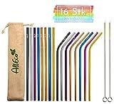AllEco Edelstahl Strohhalm wiederverwendbar 16er Set Pick & Mix + 2 Reinigungsbürsten + Eco-Beutel, freie Farbwahl - Rosegold, Gold, schwarz, blau, lila, Regenbogen (Pick & Mix, 6mm Durchmesser)