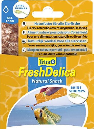 Tetra FreshDelica Brine Shrimps Naturfutter (mit ganzen Shrimps in nährstoffreichem Gelee für alle Zierfische), 16 Einzelbeutel (48 g)