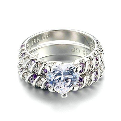 BeyDoDo Modeschmuck Edelstahl Ring Damen Herz Lila Weiß Zirkonia Solitärring Verlobungsring Trauring Silber Ringgröße 62 (19.7)