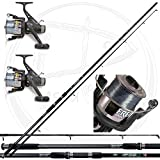 combo carpfishing 2 canne 2 mulinelli