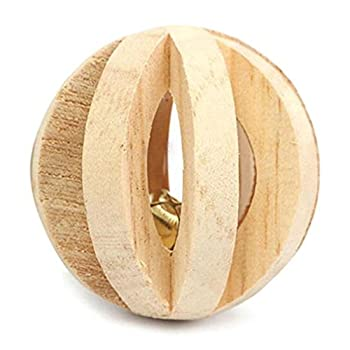 Sanwood® Jouet en bois avec clochette ou à mâcher pour animal domestique cochons d'Inde rat lapin