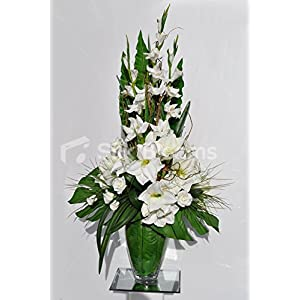 Silk Blooms Ltd Gorgeous Artificial Fresh Touch Blanco Amaryllis y gladiolos arreglo Floral con Ramas