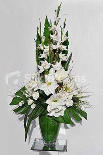 Silk Blooms Ltd Gorgeous Artificial Fresh Touch Blanco Amaryllis y gladiolos arreglo Floral con Ramas