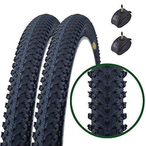 Paar Fincci MTB Mountain Hybrid Bike Fahrrad Reifen 26 x 2.125 57-559 und Sclaverandventil Schläuche 48mm