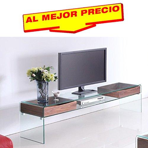MUEBLE DE TV MÓDULO CON ESTANTE DE CRISTAL CURVADO Y 2 CAJONES DE MADERA BARNIZADO, MODELO MAINE 180X43 CM - OFERTAS HOGAR -¡AL MEJOR