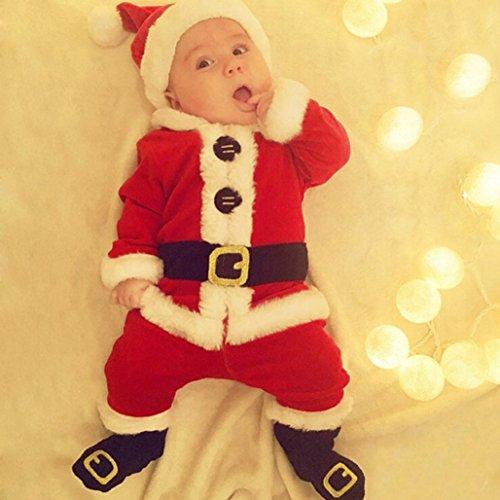 Baby Santa Kostüme,BBTXS 4PCS Baby Santa Christmas Tops+Pants+Hat+Socks Outfit Set Costume (100)