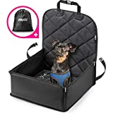 AHUKU Dog Car Seat with Seat Belt and Strong Padded Sides - Waterproof Pet Booster Seat Cover - For Small to Medium Dogs and Puppies