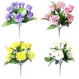 Künstliche Seidenblumen, Rose und Nelke, Blumenstrauß –für Zuhause oder für ein Grab cremefarben