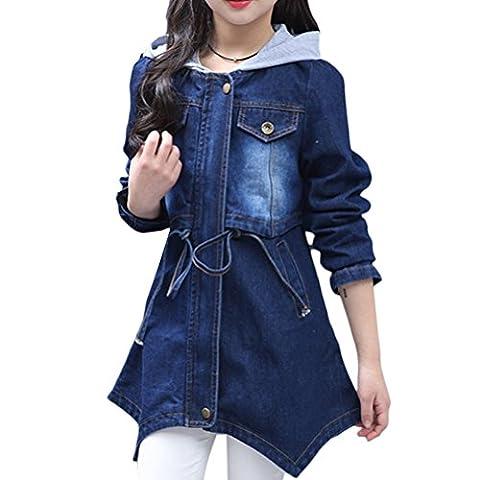 Zhuhaitf Kids Jean Jacket Long Sleeve Blue Boyfriend Hooded Denim Jacket Girls Casual Denim Coat Heavy Duty Washed Pocket Button
