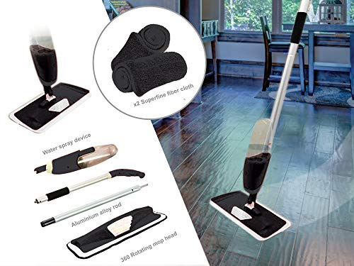 KEPLIN 700ml mop spruzzare Acqua detergente per Pavimenti Include 2in Microfibra, Colore: Nero, 60x 13x 10