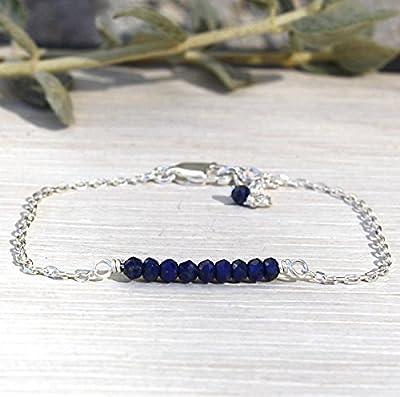 bracelet femme chaine argent 925 et pierres de gemmes lapis lazuli