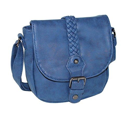New Bags Kleine Damen Handtasche Ausgehtasche Umhängetasche Blau