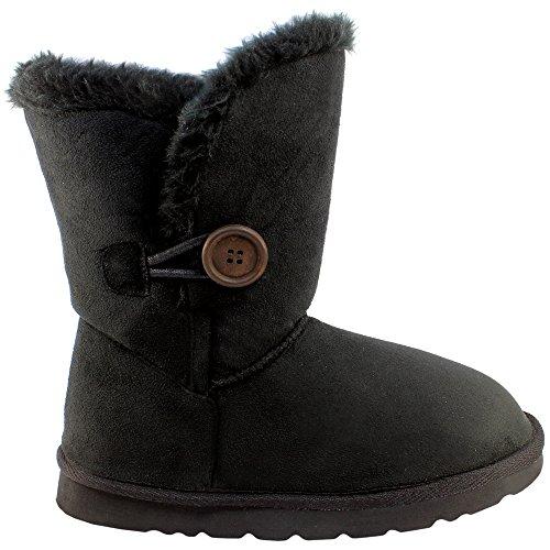 Damen Einzigen Taste Kurz Classic Pelz Gefüttert Winter Regen Schnee Stiefel - Schwarz - 10 - BLA43 AEA0079 (Winter-wetter-stiefel)