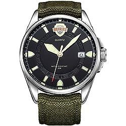 Burei® Herren Armbanduhr Armee Style Outdoors Sport Uhr Datum Quazuhr mit Canvas Armee-Gruen Armband - Schwarz Silber Zifferblatt
