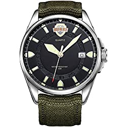 BUREI® Men's Luminous Army Style Outdoor Sports Date Quartz Watch with Canvas Strap -Black Silver Dial