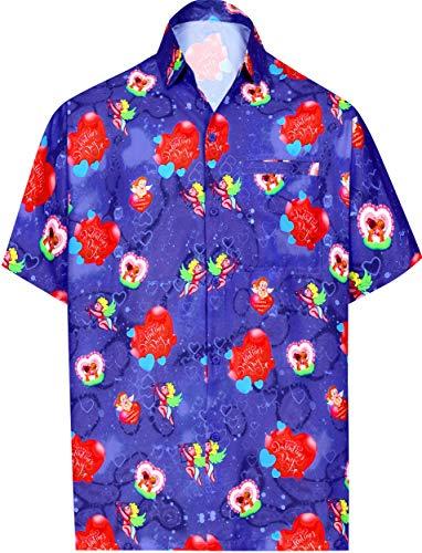 LA LEELA Hawaii-Hemd Strand Männer für ihn präsentiert Shirt für Männer Thema-Partei netten Liebesherz romantischen Date Paare Aloha Valentinstag Blau 2XL