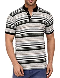 9Zeus Half Sleeve Slim Fit 100% Cotton White Stripes With Collar T-shirt For Men