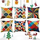 Top finel colorido geométrico algodón lino fundas de cojín para...